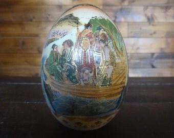 Vintage Japanese Ceramic Asian Display Decorated Egg Ornament circa 1940-50's / English Shop