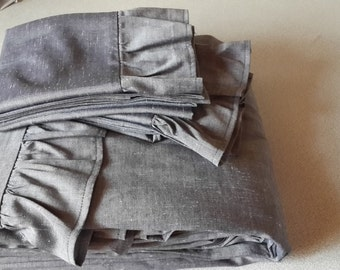 Shabby chic gray grey bedding ruffled Bedspread King, queen Bed spread linen ruffle throw coverlet blanket top sheet super king 120x120 inch