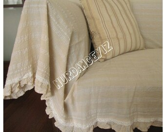 Sofa throw cover rectangle-ruffled-large couch coverlet- pet furniture protectors -lightweight white ivory Buldan fabric Nurdanceyiz Turkey