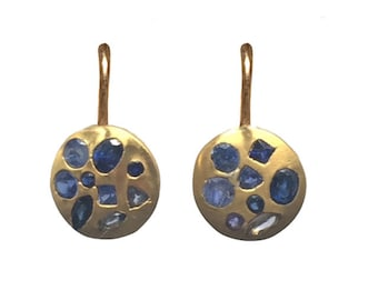 Blue Sapphire 22k Mosaic Earrings - One of a Kind