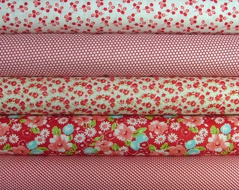 Little Ruby Bundle of 5 in Red by Bonnie & Camille for Moda