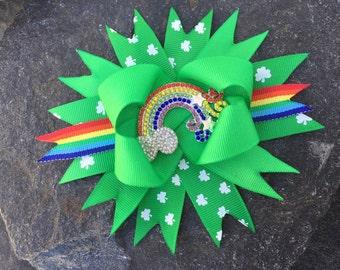 St Paddys Rhinestone Rainbow Hairbow