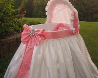 Bassinet Custom Made for Baby-Washable, Includes Frame w/wheels