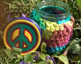 SALE! Peace Sign Recycled Glass Stash Jar, Hand Wrapped, Hand Painted, small, medium, medicine, hippie, crochet, boho, rainbow OOAK