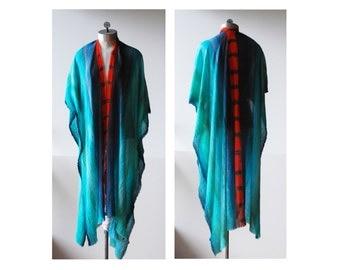 hand painted kimono, cotton kimono, colorful blue green orange