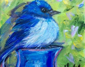 "Bluebird painting original art 5 x 5"""
