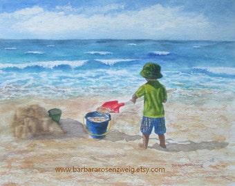 Beach Decor, Beach Wall Art, Beach Boy Print, Beach Painting, Beach Watercolor Beach Boy Art Nursery Decor Child Room Decor Coastal Wall Art