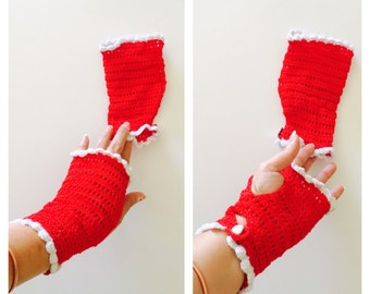 Red Crochet  Gloves, Fingerless, Romantic, White Edges, Woman, Vintge Inspired, Made in the U S A, tem no. BDE002