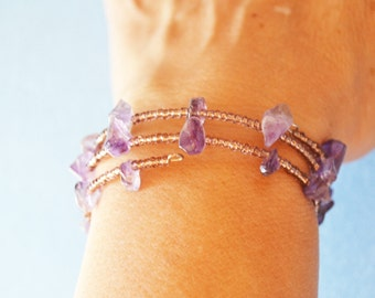 Amethyst Bracelet, Purple, Violet, Memory wire, Hand Made in The USA, Item No. De 131