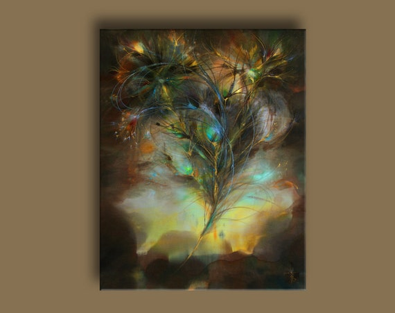 Painting Art Phoenix Fire Fantasy Digital Drawing: Feather Phoenix Print On Canvas Painting Fantasy Art Rich