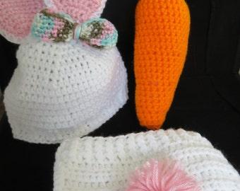 Crochet Infant Girl Bunny Photo Prop/Costume