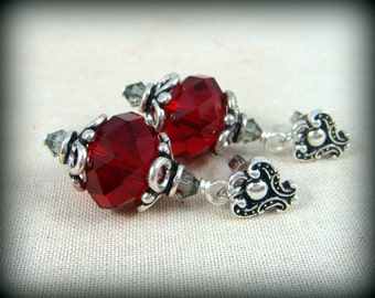 Red and Antiqued Silver Earrings - Victorian Style, Gothic Style Red and Silver Earrings - Red Drop Earrings
