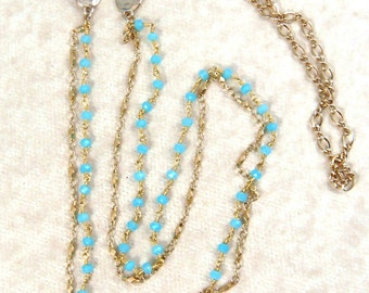 Blue and Gold Necklace - Turquoise Tiny Wrapped Beads with Elegant Gold Chain - Long necklace - Turquoise and Gold Necklace