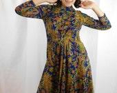 Vintage Designer I.Magnin Floral Paisley Midi Dress
