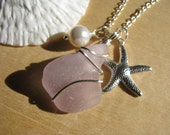 Purple Sea Glass Pendant Beach Glass Starfish Necklace Wire Wrapped