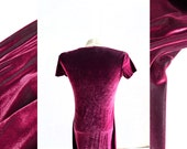 vintage '90s luster in irridescent pink magenta stretch velvet dress in contemporary t-shirt cut . size xsmall small