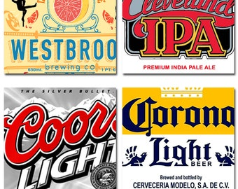 Beer Logo Label IPA Coasters Can Art India Pale Ale  Hops Instant Download 4 Inch Squares 5 Sets of 4 Images Each JPEG (16-16)