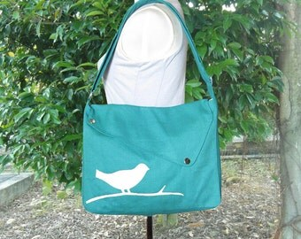 Turquoise green cotton canvas messenger bag / shoulder bag / bird messenger /diaper bag / cross body bag
