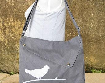 Gray cotton canvas messenger bag / shoulder bag / bird messenger /diaper bag / cross body bag