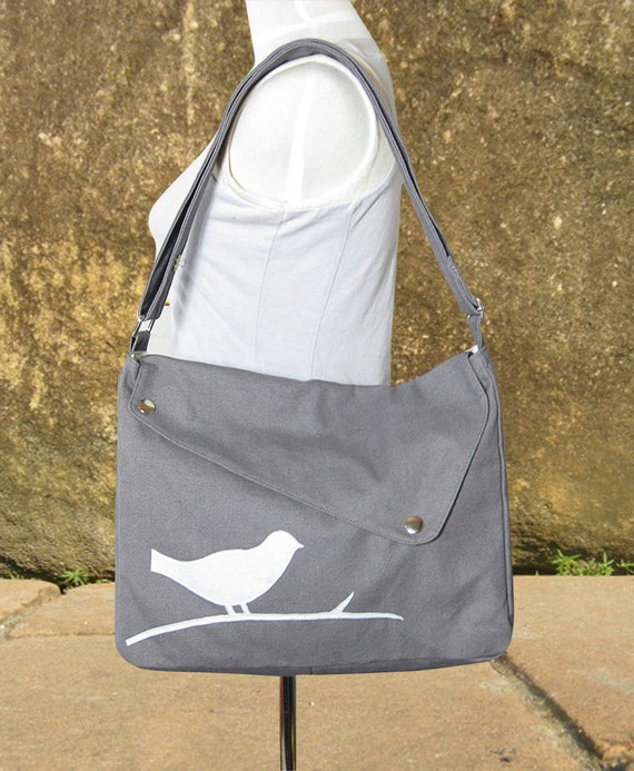 Gray cotton canvas messenger bag / shoulder bag / bird messenger /diaper bag / cross body bag