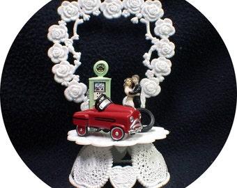 Hot rod Car AUTO MECHANIC Gas Pump Wedding Cake Topper Bride Groom Racing Funny Classic
