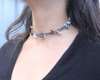 Woven necklace // vintage buttons // choker // multi strand necklace // multi strand choker // eco gifts