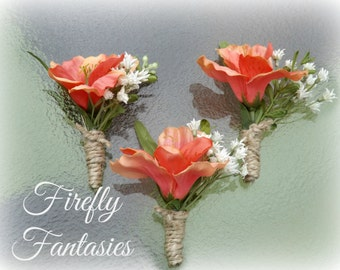 Country Rustic - Coral Peruvian Lily Men's Boutonniere - With Baby's Breath Greenery and hemp twine