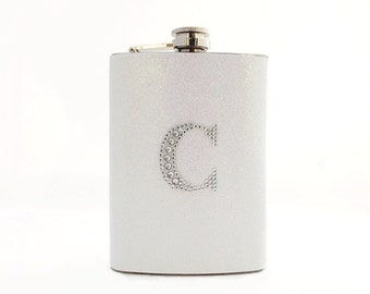 White Glitter Flask with Rhinestone Initial, Personalized Flask, Bridal Flask, Bridesmaid Gift, 6oz Stainless Steel Hip Flask