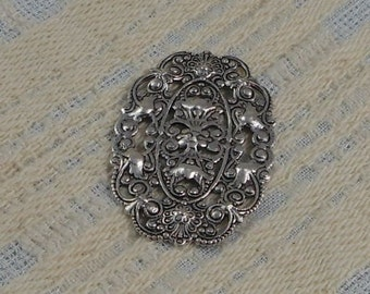 LuxeOrnaments Sterling Silver Plated Brass Filigree Focal or Wrap 38x25.5mm (Qty 1) S-8435