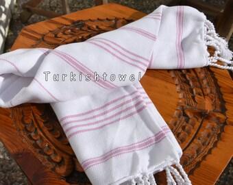Turkishtowel-Soft-Hand woven,warp&weft cotton Hand,Tea,DishTowel-Twill pattern,Dusty Pink stripes on White