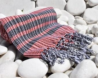 Turkishtowel-Soft-Hand woven,warp&weft cotton Bath,Beach Towel-net working draft weave pattern,weft colors-Red and black stripes