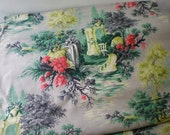 Reserved for Rubina....Vintage Barkcloth  11 Yard Piece French Garden Theme