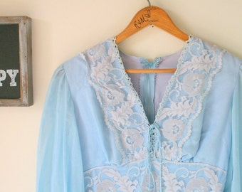 1960s BLUE LACE Dress....size small womens...dress. 1960s dress. long sleeved. ladies. garden party. victorian. vintage wedding. mid century