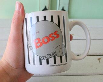 1980s BOSS Coffee Mug...retro housewares. boss. ball and chain. tea. drink. kitsch. gift. retro. serve. the office. retirement. gag gift.