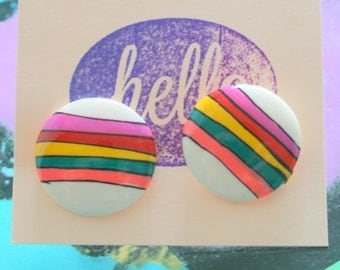 Vintage RAINBOW Earrings...retro. bright. glam. kitsch. pierced ears. studs. rainbow jewelry. costume jewelry. fun. striped. round. mod girl