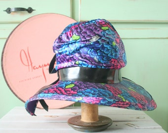 Vintage Mid Century Hat....mod. designer. church. wedding. bride. costume. 1950s hat. 1960s hat. rainbow. purple hat. blue hat. floral hat