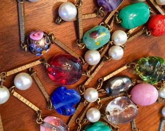 1970's Venetian Murano Art Glass Link Necklace Retro Mod Vintage Necklace