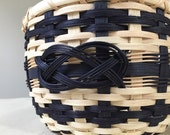 SALE - Save 20% - Handmade Round Black and Natural Basket with Josephine Knot