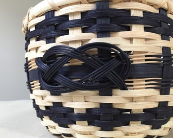 Handmade Round Black and Natural Basket with Josephine Knot
