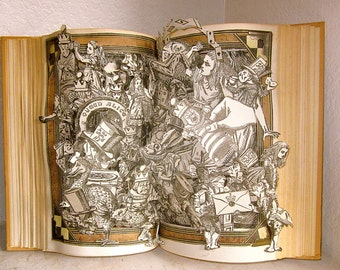 Alice in wonderland altered book 1950's vintage book popup style