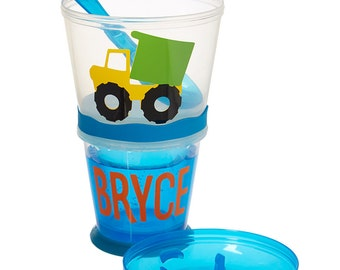 SALE! Cereal and Milk On the Go Set, Personalized Kids Cup with Snack Holder, Great Kids Party Favor