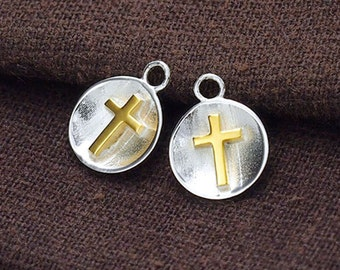 2 of 925 Sterling Silver Concave Disc Cross Charms 10mm .  :vm0631