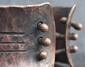 Otzi's Bracer - Copper cuff bracelet featuring acupuncture tattoos from Otzi the ancient ice man mummy