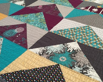 Indelible Mountains Modern Baby Toddler or Lap Quilt - Ready to Ship!