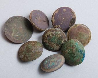 Set of 8 Huge Antique metal buttons, original dark patina
