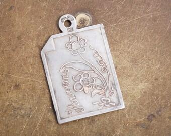 Antique charm, pendant, sterling silver 84, 875, initials letters BM
