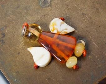 Genuine Natural Baltic Amber charm with metal loop, Angel