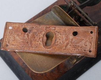 Antique brass key hole escutcheon, gothic