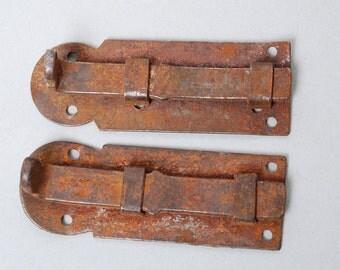 Set of 2 Antique iron lock latch, door lock, old rustic patina