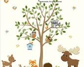 Forest Animals Decal, Nursery Decal, Moose, Bunny, Dear, Hedgehog, Squirrel, Owl Decal, Fox, Forest Decal Set
